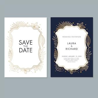 Hochzeits-einladungs-kartenschablone mit blättern und blumenhintergrund