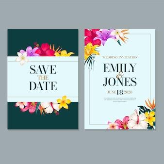 Hochzeits-einladungs-kartenschablone, mit blatt u. blumenhintergrund