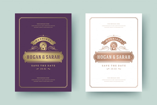 Hochzeits-einladungs-save the date-karten-goldene flourishesverzierungs-vignettenstrudel. vintage viktorianischen rahmen und dekorationen.