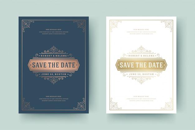 Hochzeits-einladungs-save the date-karten-goldene flourishesverzierungs-vignettenstrudel