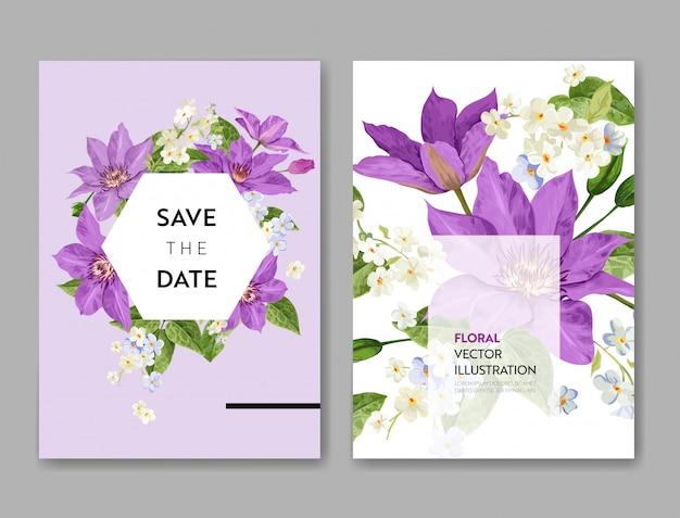 Hochzeits-einladungs-schablone mit blumen und palmblättern. tropische blumenabwehr die datums-karte.