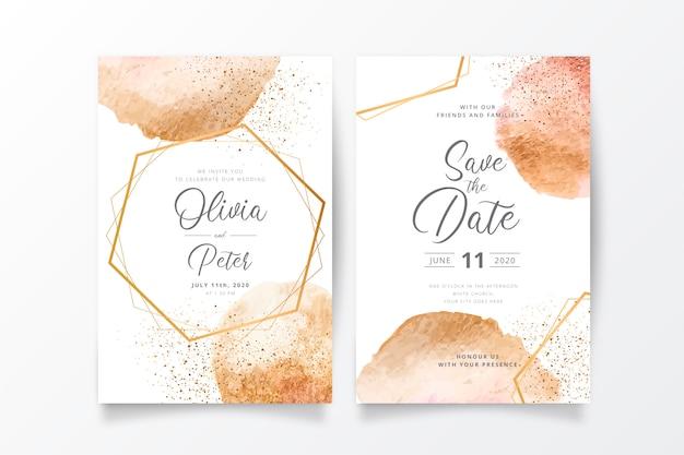 Hochzeits-einladungs-schablone mit goldenen spritzen