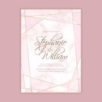 Hochzeits-einladungs-schablone mit marmorhintergrund und geometrische form in der goldenen linie