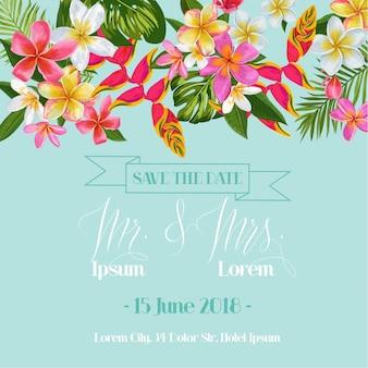 Hochzeits-einladungs-schablone mit plumeria-blumen. tropische blumenabwehr die datums-karte.