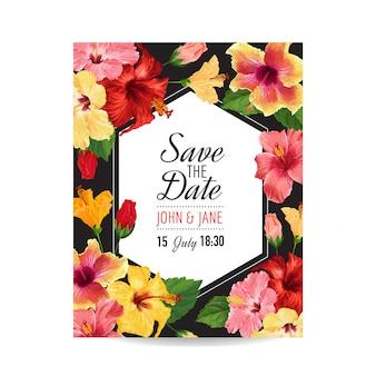 Hochzeits-einladungs-schablone mit roten hibiscus-blumen.