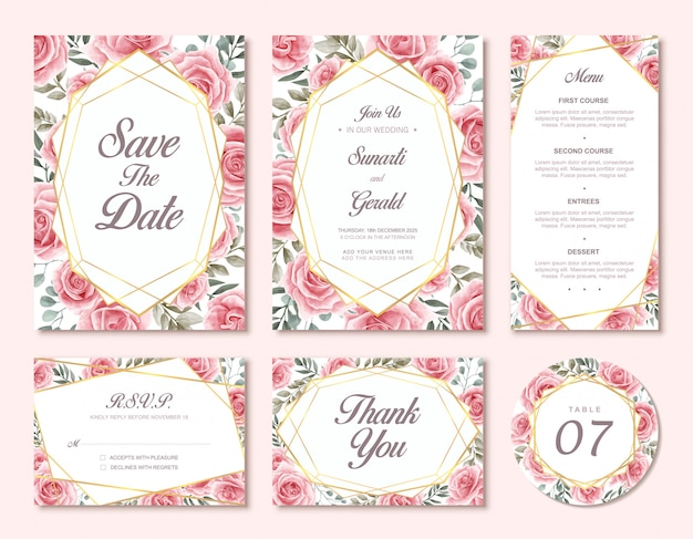 Hochzeits-einladungskarten-set