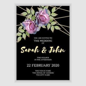 Hochzeits-einladungsschablone des dunklen rosenblumenstraußes