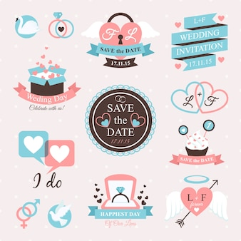 Hochzeits-emblem-set