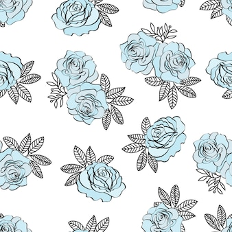 Hochzeits-geburtstags-blumennahtloses muster blaues rosenmuster