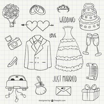 Hochzeits-gekritzel packen