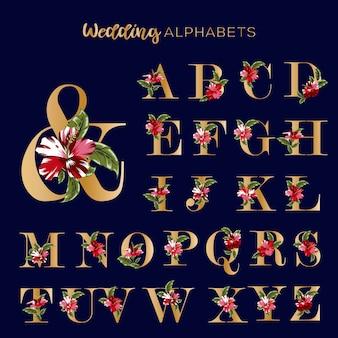 Hochzeits-goldene alphabete mit blumenrot-hibiskus