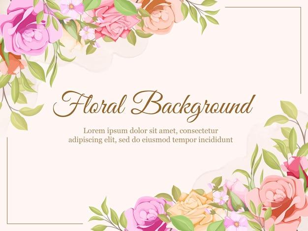 Hochzeits-hintergrund-sommer-blumen- und blätter-schablonen-design