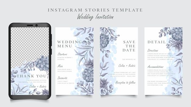 Hochzeits-instagram-geschichtenschablone mit handgezeichnetem blumenhintergrund Premium Vektoren
