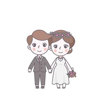 Hochzeits-liebhaber-charakter-nette vektor-illustration
