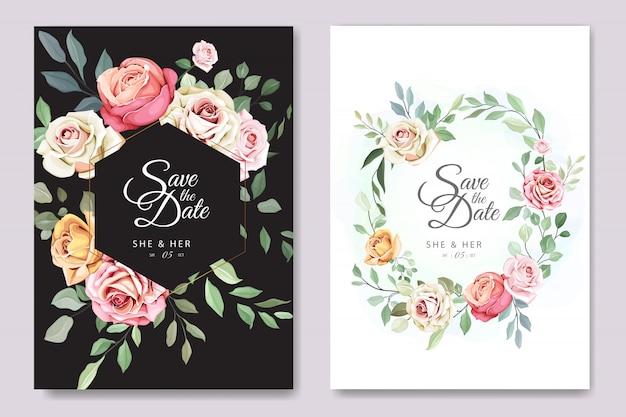 Hochzeits- und einladungskarte mit eleganter blumen- und blattschablone