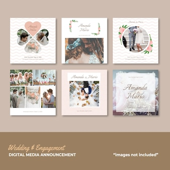 Hochzeits- und verlobungs-social media-mitteilung