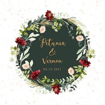 Hochzeitsabzeichen mit wildem blumenaquarellrahmen