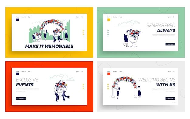 Hochzeitsagentur mitarbeiter landing page template set