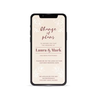 Hochzeitsansage mit smartphone verschoben