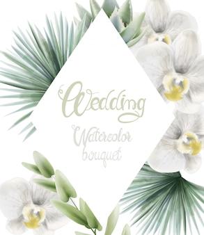 Hochzeitsaquarellblumenstrauß mit palmblättern