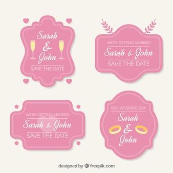 Hochzeitsaufkleber mit rosa stil