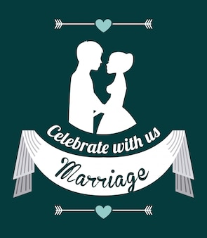 Hochzeitsauslegung über blauer hintergrundvektorillustration