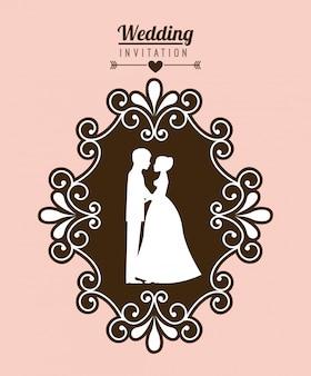 Hochzeitsauslegung über rosa hintergrundvektorillustration
