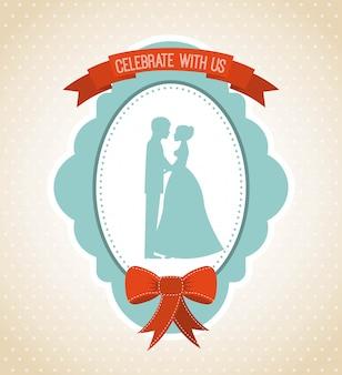 Hochzeitsauslegung über weißer hintergrundvektorillustration