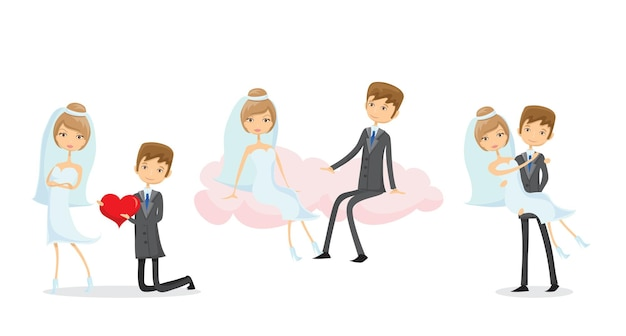 Hochzeitsbilder, liebe das brautpaar im doodle-stil