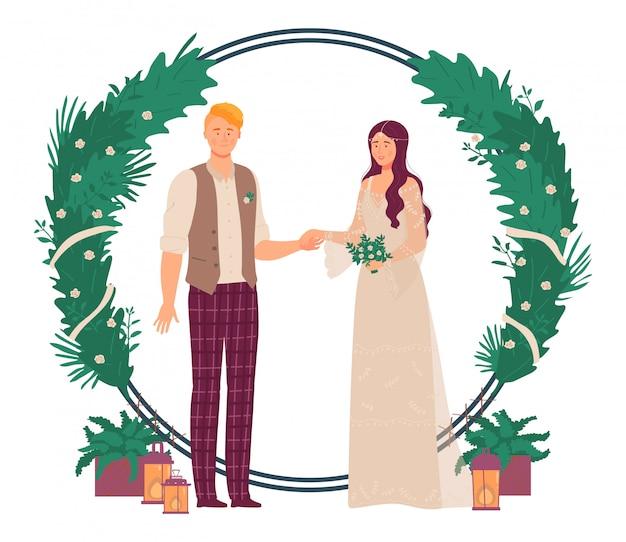 Hochzeitsblumendekorationillustration, karikatur romantische ehepaarleute, die neben grünen pflanzen und blumenbogentor stehen