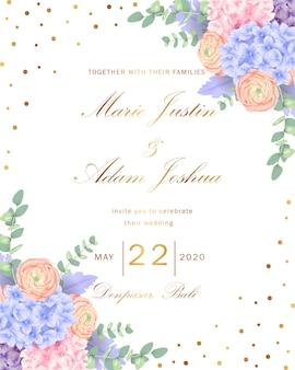 Hochzeitsblumeneinladung mit hortensie