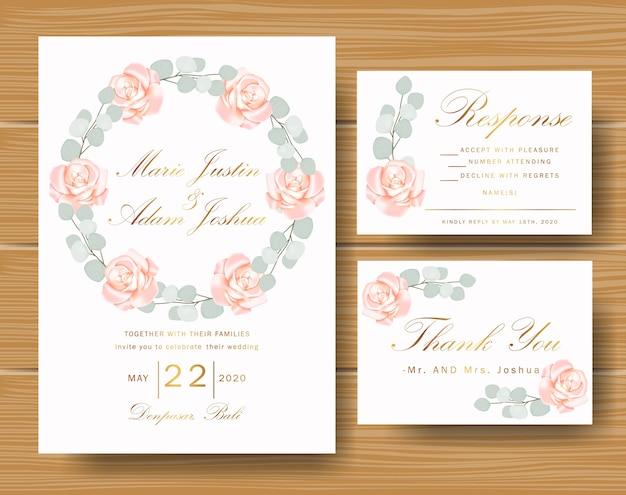 Hochzeitsblumeneinladung mit rosen und eukalyptusblättern