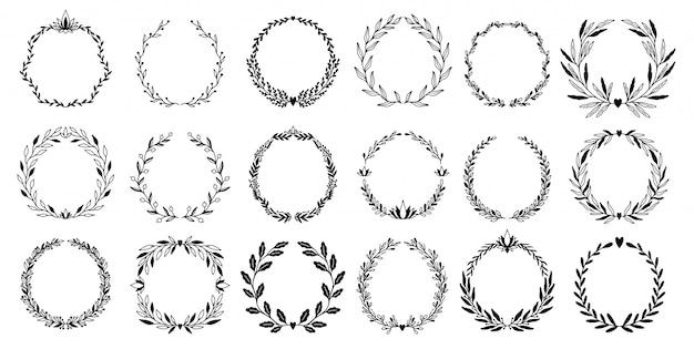 Hochzeitsblumengrafik-elementsatzkranz, teiler, lorbeer. dekoratives einladungsdesign.