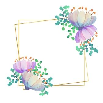 Hochzeitsblumenrahmen im quadratischen stil