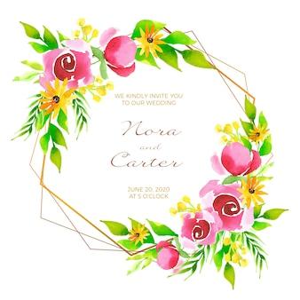 Hochzeitsblumenrahmeneinladungskonzept