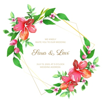 Hochzeitsblumenrahmenentwurf