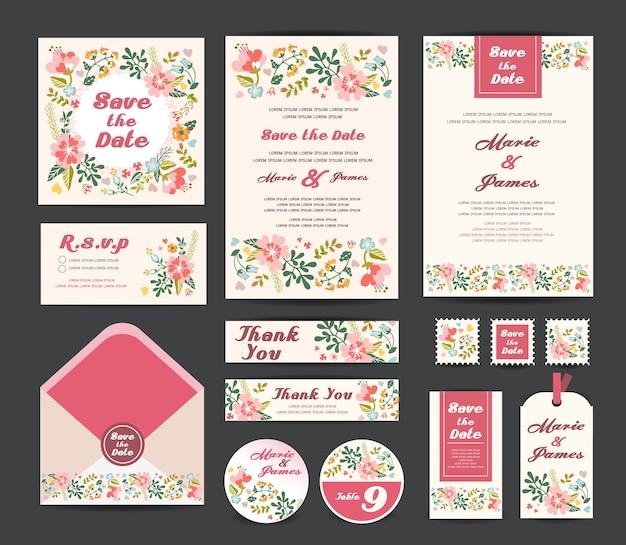 Hochzeitsblumenschablonensammlung