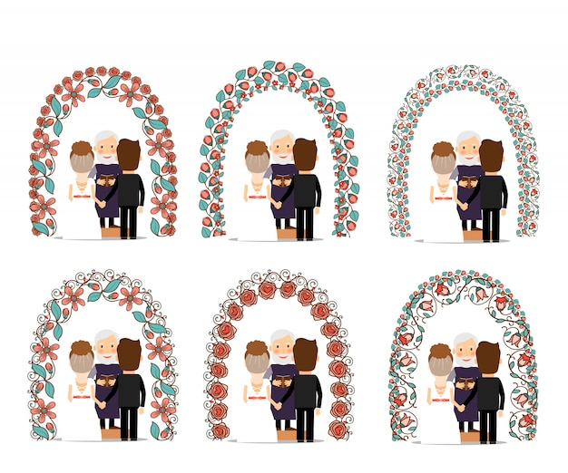 Hochzeitsbogen gesetzt