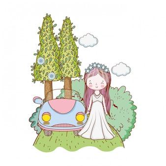 Hochzeitsbraut und weinleseauto
