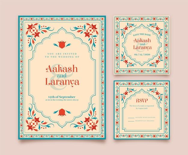 Hochzeitsbriefpapier für indisches paar mit blumenmotiven
