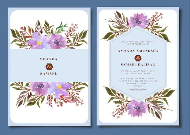 Hochzeitsbriefpapier mit blumenaquarell
