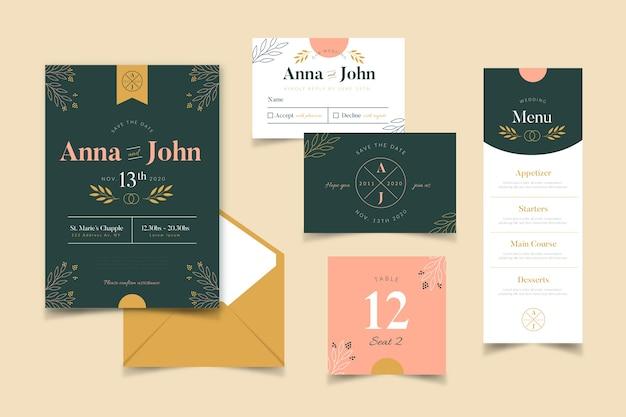 Hochzeitsbriefpapier mit botanik