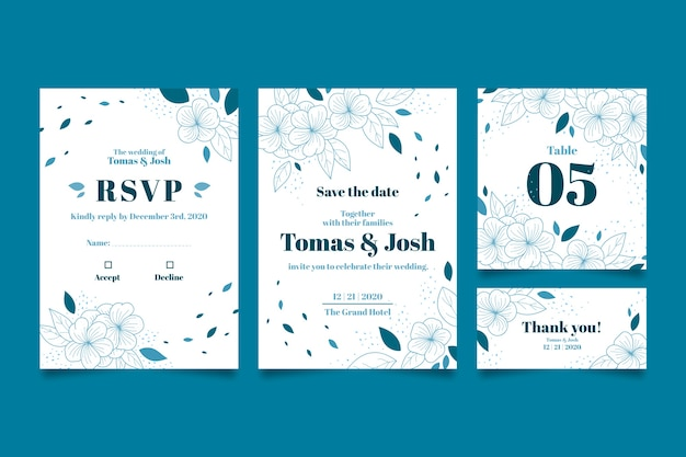 Hochzeitsbriefpapier mit handgezeichneten blättern