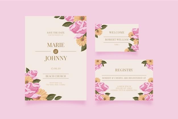 Hochzeitsbriefpapier-schablonenpaket