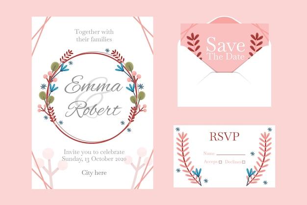 Hochzeitsbriefpapier-schablonensatz