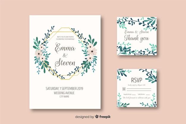 Hochzeitsbriefpapierschablone auf flachem design