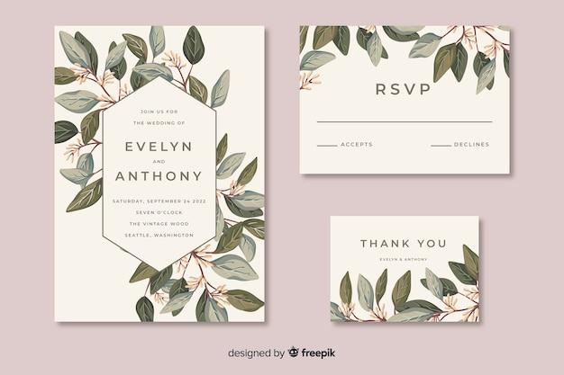 Hochzeitsbriefpapierschablone im flachen desig