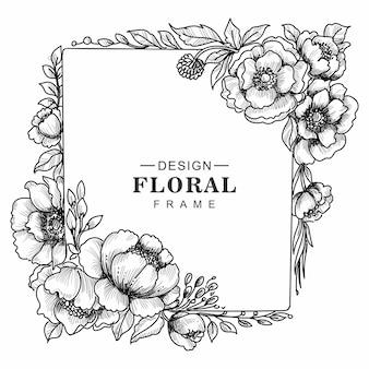 Hochzeitsdekorativer blumenrahmenkarten-skizzenhintergrund