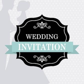 Hochzeitsdesign über grauer hintergrundvektorillustration