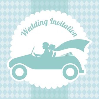 Hochzeitsdesign über musterhintergrund-vektorillustration